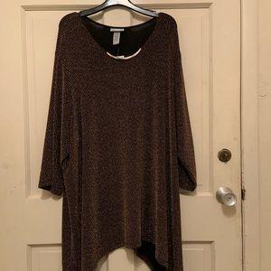 Catherine's Dressy Metallic Knit Shirt 4X NWT